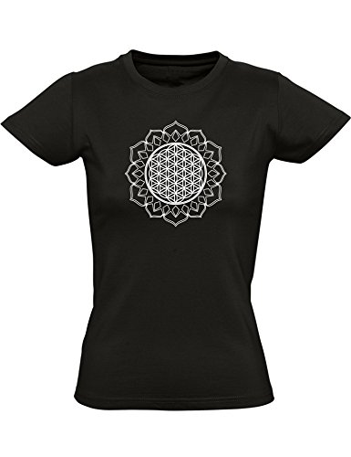 T-Shirt: Fleur de Vie - Mantra - Yoga Tee-Shirt - Cintré - Femme-s - Fille-s - Sport - Méditation - Fitness - Gym - Zen - Hindouisme - Inde - Bouddha - Namaste - Cadeau (XL)