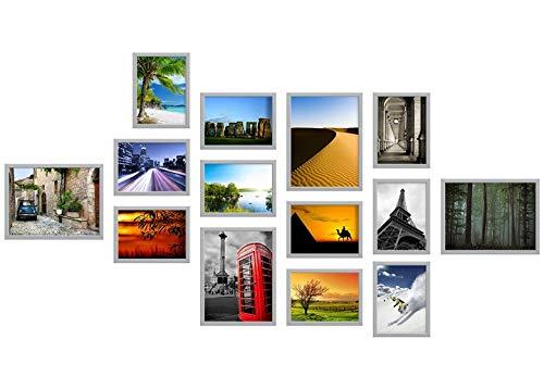 14er A Set 13x18 18x24 Fotocollagen Bilderrahmen Foto Bild Galerie Collage Rahmen mit Schablone (Weiß)