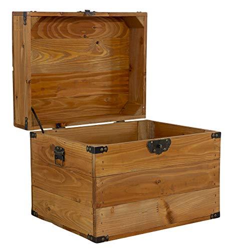 1x Tolle Truhe mit Deckel, aus Holz, mit Metallbeschlägen an den Ecken & Aufdruck, zur Aufbewahrung von Kleinkram, neu, 45x35x35cm