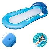 Colchoneta de aire, hamaca para agua, colchón, tumbona de playa, colchoneta flotante, colchoneta de aire, colchoneta para colgar, perfecta para baño con cabecera, color azul