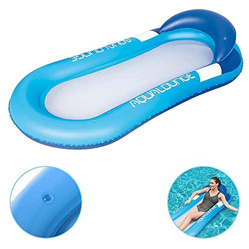 Luftmatratze Wasserhängematte Hängematte Matratzen Wasseriege , Strandmatte Floating Lounge Stuhl,Luftmatratze Wasserhängematte Perfekte Badehängematte mit Kopfteil. (Blau)