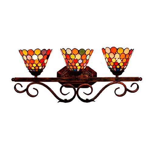 L-YINGZON De pared de luz, tres faros británica retro del vitral de Tiffany de baño Espejo Luces delanteras Corredor Bar Restaurante Decoración Tiffany luz de la lámpara de pared Lámpara de interior d