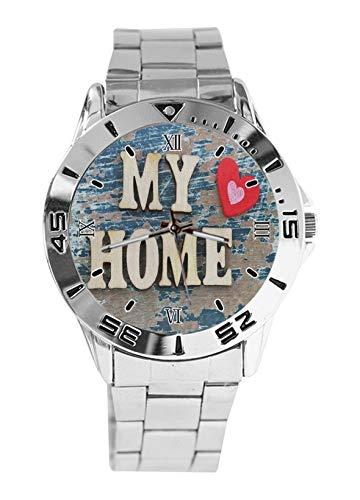 My Home Love Heart Fashion - Reloj de pulsera deportivo para hombre, correa de acero inoxidable, analógico, cuarzo, reloj de pulsera