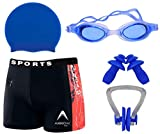 GOLDEN GIRL Boy| Men's Swimming Combo Kit with Swimming Costume| Shots, Swimming Cap