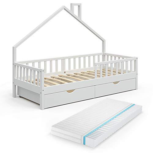 VitaliSpa Hausbett Kinderbett Spielbett Noemi 90x200cm Rausfallschutz (Weiß, Schubladen & Matratze)