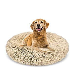 Spring Blossoms The Fluffy Non-Slip Calming Donut Dog Bed in Shag Fur, Self-Warming Machine Washable Clearance Pet Bed (Small/Medium/Large)