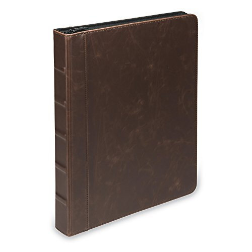 Samsill Vintage Hardback Book Style Zipper 3 Ring Binder, 1 Inch Round Ring, Holds 200 Sheets - Dark Brown
