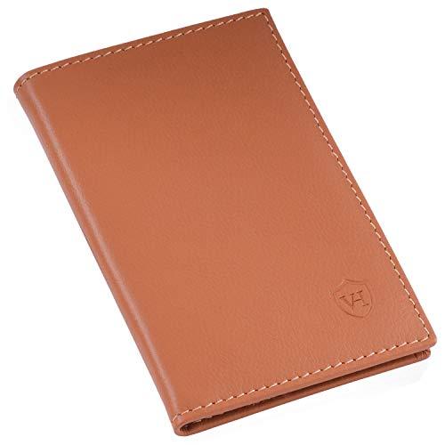 VON HEESEN Slim Wallet ohne Münzfach - RFID-Schutz - Made in Europe Leder Geldbörse für Damen Herren - Geldbeutel Männer klein - Portemonnaie Portmonaise Portmonee Mini Kartenetui (Cognac)