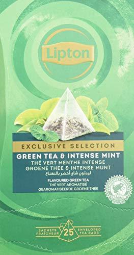 Lipton Grüner Tee & Intensive Minze Pyramidbeutel, 1er Pack (1 x 25 Teebeutel)