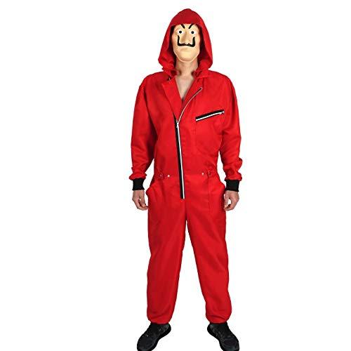 Yigoo Haus des Geldes Kostüm Overall mit Dali Maske Cosplay für Herren, Damen Erwachsene - Fasching, Karneval, Halloween Rot 2 S