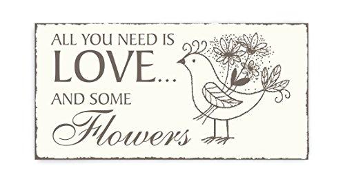 SCHILD Dekoschild « All you need is LOVE and some FLOWERS » kip met bloemen vintage houten bord deurschild vogel vriendschap dierpark kinderen