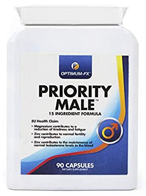 Priority Male Supplement including Magnesium, L-Arginine, Fenugreek, Maca Extract, Zinc, Ginkgo Biloba, Garlic Extract and Korean Ginseng - 50% Extra FREE (90 Capsules for the Price of 60) - Money Back Guarantee by Optimum-FX