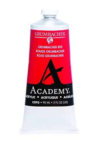 Grumbacher Academy Acrylic Paint, 90ml/3 oz Metal Tube, Grumbacher Red