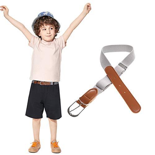 WELROG Kinder Elastisch Einstellbar Gürtel mit Lederver Schluss für Jungen Mädchen (Grau)