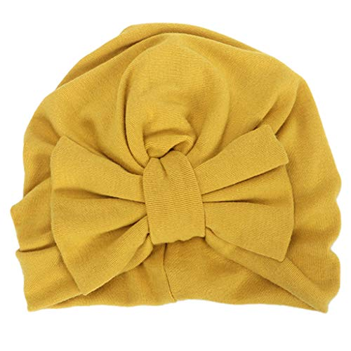 Guangzhou Baby Mädchen Big Bowknot Winter Turban Hut Einfarbige Baumwolle Beanie Cap Plissee Stretchy Cap E #