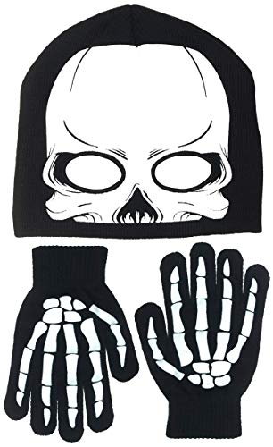 Polar Wear Boy's Skeleton Knit Beanie with Eye Holes & Glove Set (Black-White)