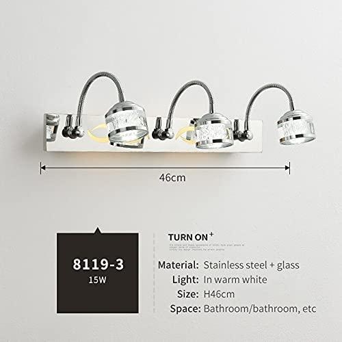 IREANJ Lámpara de Pared Menor Minimalista LED Espejo Luz de Espejo Lámpara Delantera Baño Impermeable Moderno Vanity Water Lights AC85-265V (Lampshade Color : 8119 3)