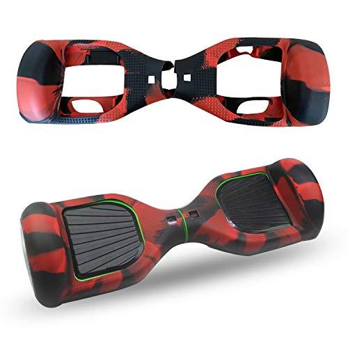 Abby Protettiva Hoverboard Cover in Silicone per 2 Ruote 6,5 Pollici Monopattino Auto Balance Scooter (Rosso Nero)