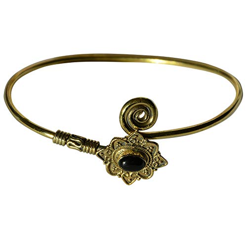 CHICNET Damen Armreif Armspange Armband aus Messing und Onyx Stein, antik Gold schwarz, oval, verstellbar, Spirale Herzen Schnörkel, Vintage Boho Armschmuck