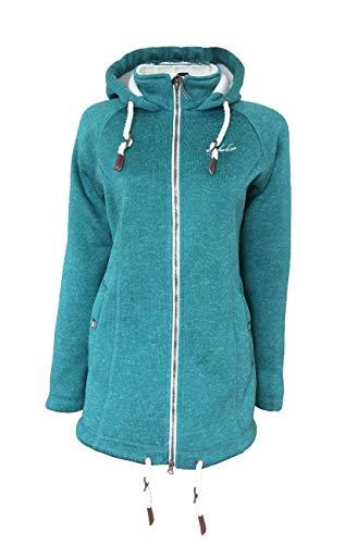 Dry Fashion Damen Wollfleecemantel Oslo Parka Übergangsjacke warm, Größe:48, Farbe:türkis