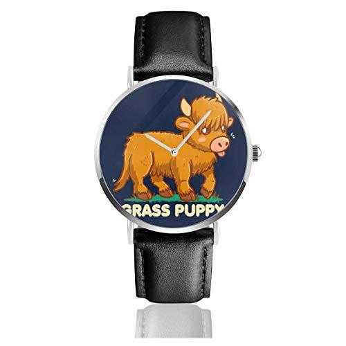 Relojes Cuarzo Cuero Banda Negra Colección Joven Regalo Unisex Business Casual Grass Puppy Scottish Highland Cow