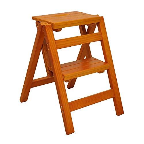 Houten Ladder Home Multi-Functie Vouwkruk Kruk Lift Kruk 2 Ladder Kinderen Kruk Plank Trapstoel 39.5X43X47.5Cm Ladder jghjgfhfdgfdg Licht Walnoot