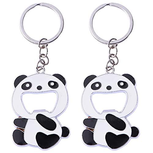 Abridor De Botellas Ksopsdey 2 pcs Llavero Panda con forma de abrebotellas y panda Multifunción Abrelatas Llaveros Abrebotellas con Anilla Llavero de Panda Beer Soda abrebotellas
