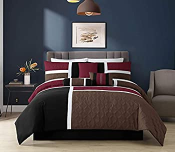 Chezmoi Collection 7-Piece Quilted Patchwork Comforter Set  Queen Burgundy/Brown/Black