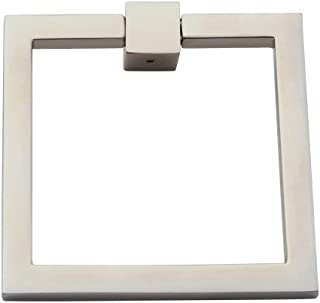 """Prima Square Modern Ring Pulls 3""""- Solid Brass Home Décor Square Ring Pull, Home Renovation Sand Casted & Hand Finished Cabinet Ring Pulls for Kitchen Drawers, Sturdy Ring Pull Square – Satin Nickel"""