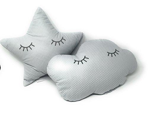 2 Cojines Bebe Decorativos Nube y Estrella Durmiendo Ideal para cuna - Danielstore (Gris)