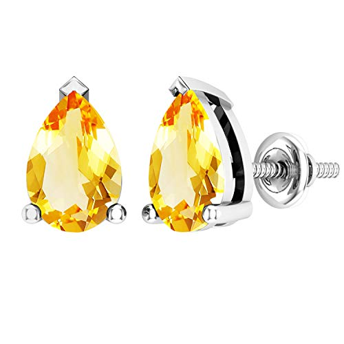 Dazzlingrock Collection 10K 7x5mm Each Pear Cut Citrine Ladies Solitaire Teardrop Stud Earrings, White Gold