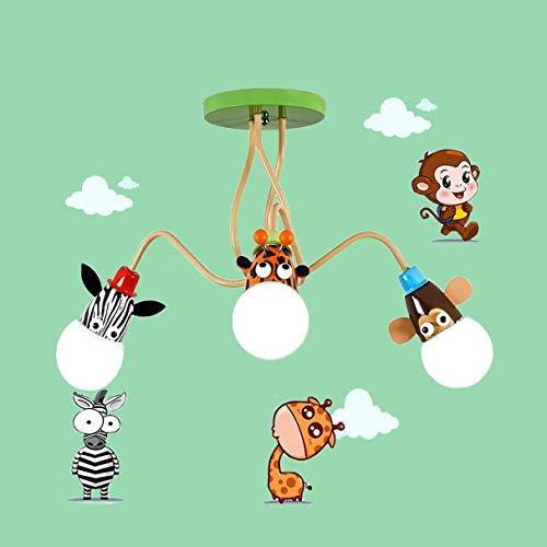 lámpara de techo para niños,Lámpara infantil de dibujos animados diseño animal pantalla Araña E27,Se utiliza en habitaciones para niños, salas de juegos, escuelas, jardines de infancia. (3 luces)