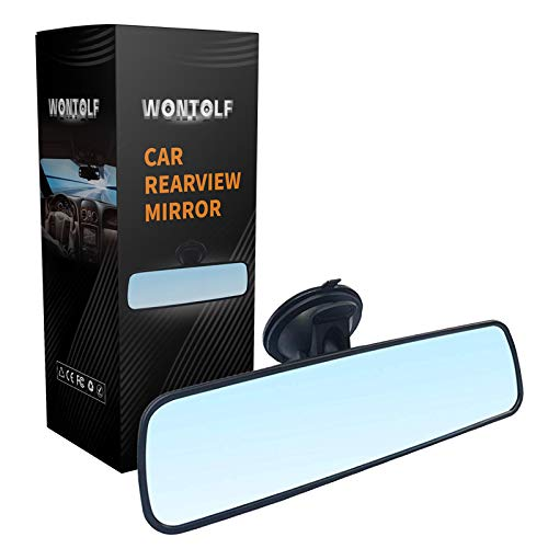 Wontolf Anti-glare Rear View Mirror Suction Cup Rear View Mirror Universal Interior Wide Angle Rearview Mirror Eliminate Blind Spots for Car Truck SUV 9.5''(240mm)
