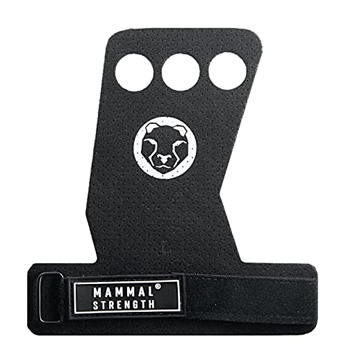 Mammal Strength S2 Hand Grips - 3 Hole Synthetic Leather Gymnastic Grips - Used for Palm Protection - Crossfit, Pull-ups, Weight Lifting, Chin-ups (3-hold, black, medium)