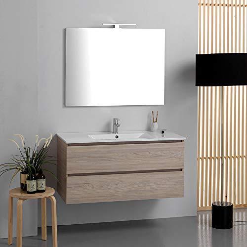 Composición baño suspendido 100 cm de cajones efecto madera olmo