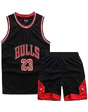 Jongens Basketbal Jerseys Jordrn #23 Bulls Vesten Top en Shorts 2-delige Set Mouwenstops Sport Basketbal Zomer Korte jersey
