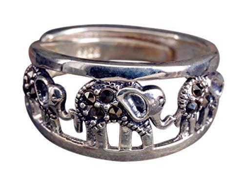 NicoWerk Damen Silberring Elefant aus 925 Sterling Silber Vintage Durchlöchert Tier Ethno Verstellbar Offen SRI422