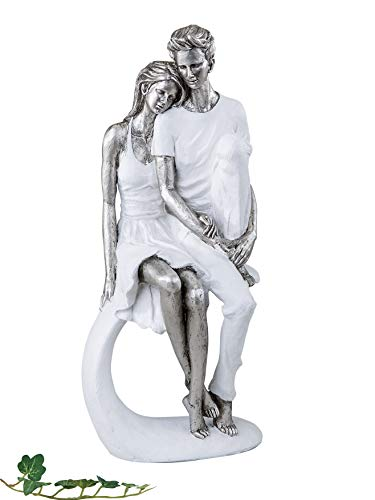 Moderne Liebespaar Skulptur Dekofigur aus Keramik Hoehe 36 cm