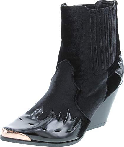Cape Robbin Women Flame Pattern Cowboy Boot - Block Heel Western Boot - Chunky Heel Ankle Boot black Size: 4.5 UK