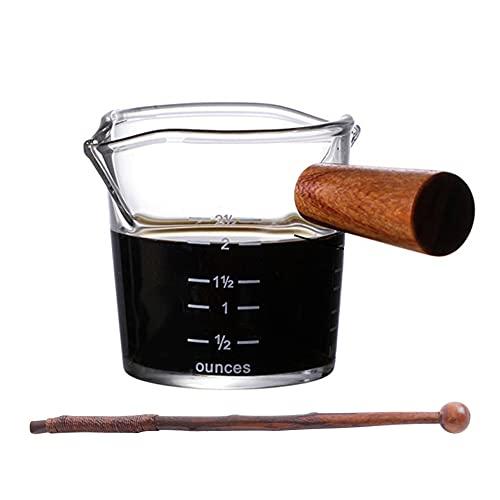 Juego de gafas de espresso conjuntos de 2 con asas de madera y palitos de agitador Doble escala, vidrio a prueba de calor Copa de medición de vidrio 2-sput, jarras de onzas para café Milk Wine Tea