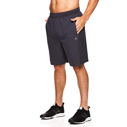Gaiam Men's Yoga Shorts - Performance Heather Gym & Workout Short w/Pockets - Karma Ebony, Medium