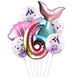 Esportic Juego de Globos de Cola de Sirena(7 unidades), Foil Globo Número0-9 Años, Sirena Decoración de Cumpleaños, Decoración de Fiesta de Sirena, látex globo, Globo de Cumpleaños Fiesta Decoración