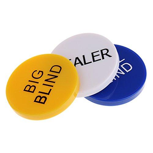 Homyl 3 Stück Doppelseitig Poker Button, Dealer/ Big Blind / Small Blind