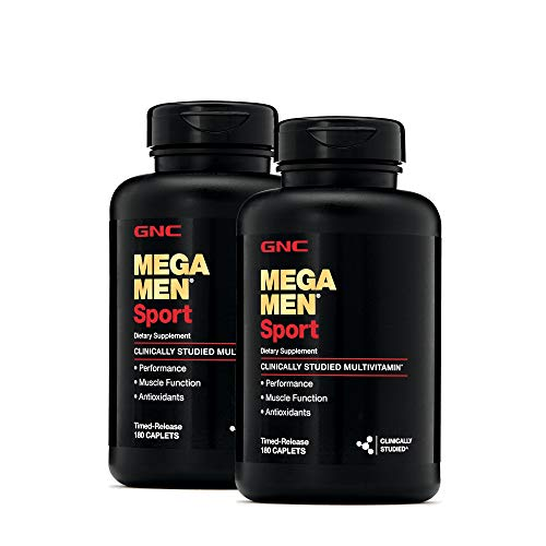 GNC Mega Men Sport Multivitamin for Men, 2 Pack, 180 Count, for Performance, Muscle Function, and General Health