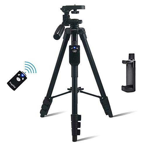 "Fugetek 54"" Tripod, Works with Phone & Camera, Use for Facetime, Video Calls, Teaching, Lightweight Aluminum, Removable Bluetooth Remote, Mount Smartphone, DSLR, Compatible with Apple Android, Black"