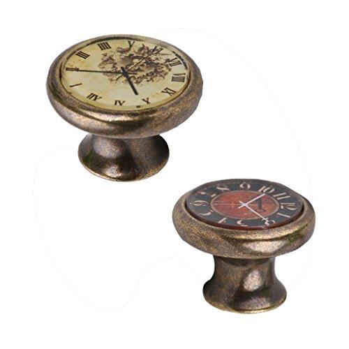 2 Stück Möbelknöpfe Vintage Uhr Muster Schrankknöpfe Möbelgriffe Schrankgriffe für Kleiderschrank Kommode Schublade - Typ 2