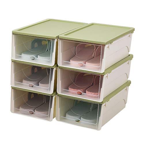 xuejuanshop Zapatero Caja de Almacenamiento del hogar de la Caja de clasificación del Almacenamiento del Estante de la Zapata del Estante portátil apilable del Zapato Zapatera (Color : Green)