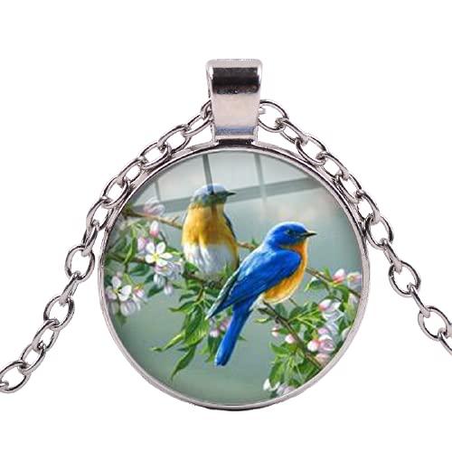 Hermoso pájaro azul en la rama collar colibrí vidrio arte imagen redonda collares colgantes regalo moda joyería animal