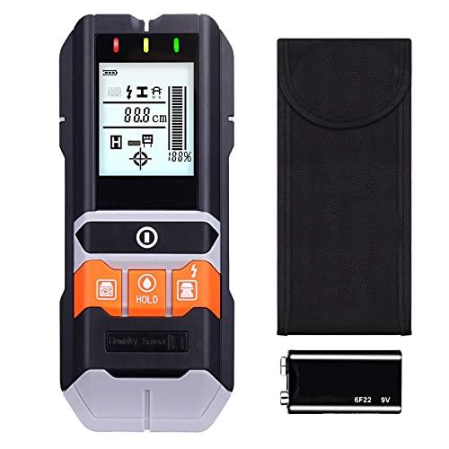 Ortungsgerät, 5 in 1 Metalldetektor,Wand Scanner Detektor, Stud Finder, mit Großer LCD, Hintergrundbeleuchtung, mit Schutztasche, für Stromleitung, Holz, Feuchtigkeit und Metall
