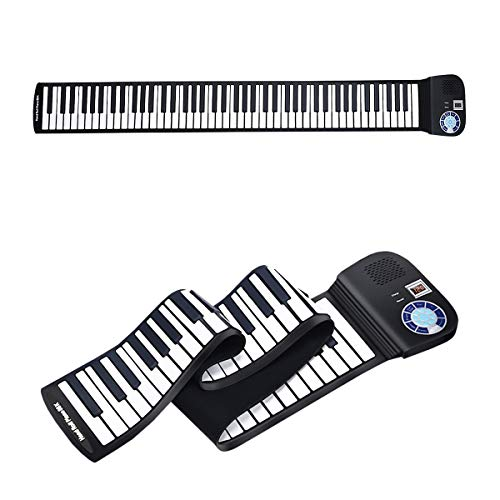 HONEY JOY Roll Up Piano, Portable 88 Key Piano Keyboard, Soft Grade Silicone, Rechargeable Educational Piano with LED Touch Screen, 128 Tones, 128 Rhythms, 15 Demos, Built-in Amplifying Speakers